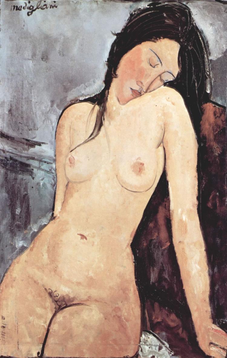mujer sentada desnuda