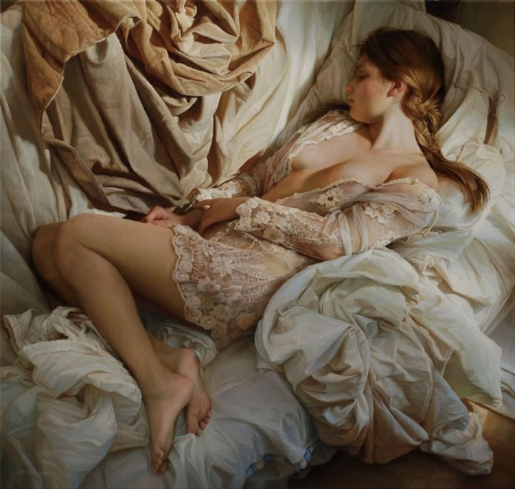 mujer durmiendo pintada por Marshennikov
